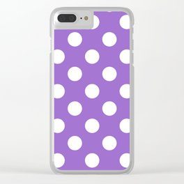 Amethyst - violet - White Polka Dots - Pois Pattern Clear iPhone Case