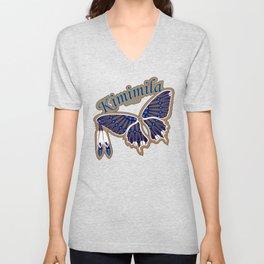 Butterfly Nation Blue Unisex V-Neck