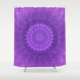 Sunflower Plum Boho Feather Pattern \\ Aesthetic Vintage Bohemian \\ Dark Violet Purple Color Scheme Shower Curtain
