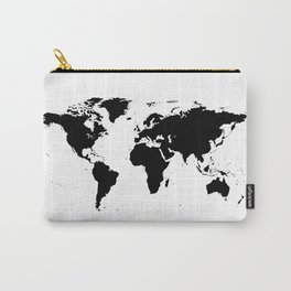 Black World Map Carry-All Pouch
