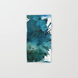 Scenic Route [2]: a pretty, minimal abstract piece in blue and green by Alyssa Hamilton Art Hand & Bath Towel