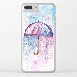 Umbrella Watercolor Painting Clear iPhone Case