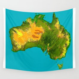 Australia Topographical Relief Map Wall Tapestry