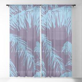 Ultra Violet Palm Print Sheer Curtain
