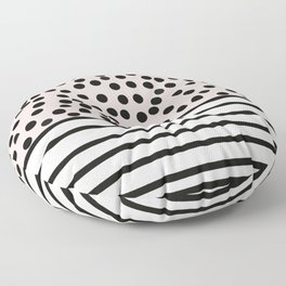 Pink and black spots and stripes pattern Floor Pillow