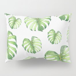 Watercolor monstera pattern Pillow Sham