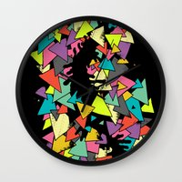 triangles Wall Clocks featuring Triangles  by AtomicChild
