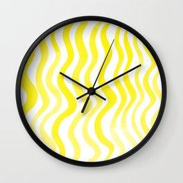 Wavy lines - lemon yellow Wall Clock