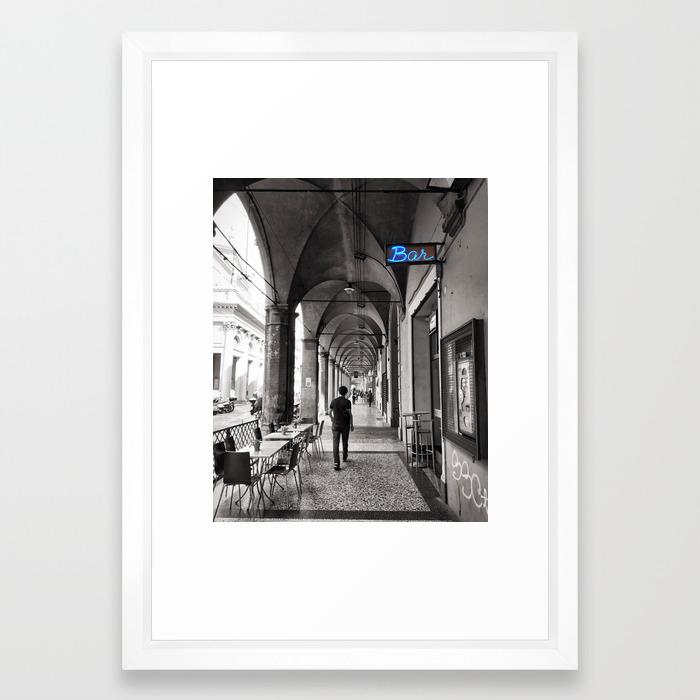 Black and white bologna street photography framed art print