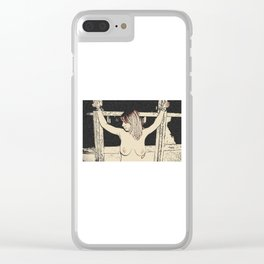 NSFW Bondage play, slave girl 4, tied woman, sexy fetish fantasy, topless submissive Clear iPhone Case