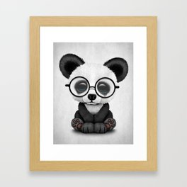 Cute Panda Bear Cub with Eye Glasses Framed Art Print