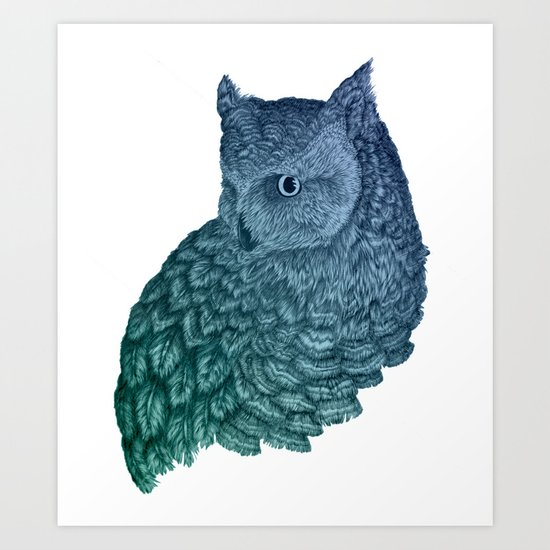 Ombre Owl II Art Print