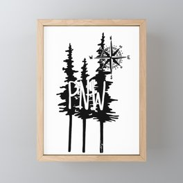 PNW Trees & Compass Framed Mini Art Print