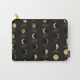The Lunar Cycle • Phases of the Moon – Black & Gold Palette Carry-All Pouch