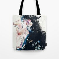 fear Tote Bags featuring Fear by Holly Sharpe
