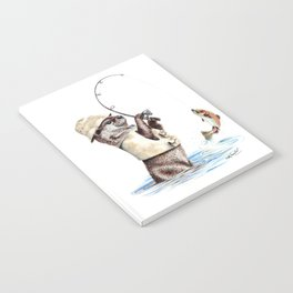 """ Natures Fisherman "" fishing river otter with trout Notebook"