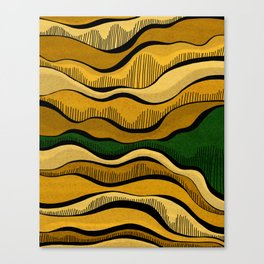 Golden Waves with Interrupting Green Canvas Print