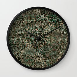 Dot Art Circles Malachite and Gold Wall Clock
