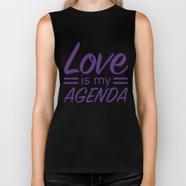 LOVE IS MY AGENDA purple Biker Tank