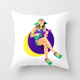Pearl of Saturn girl by #Bizzartino Throw Pillow