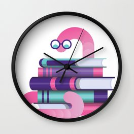 Buecherwurm with glasses Wall Clock