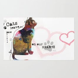 Cats Leave Paw Prints On Our Heart by Michel Keck Rug