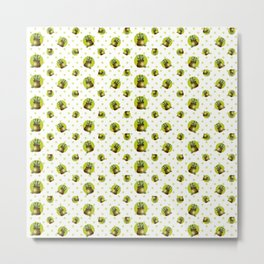 """Green Lemon Pattern Succulents Polka Dots"" Metal Print"