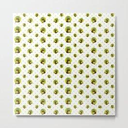 """Green Lemon Pattern Succulents Polka Dots"" Metal Print"