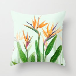 bird of paradise flower painting Throw Pillow