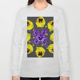 YELLOW & PURPLE PANSY FLOWERS FLOATING ON CHARCOAL Long Sleeve T-shirt