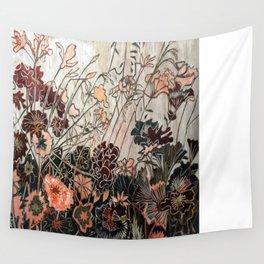 Woodcut Field of Flowers in Orange/Red Wall Tapestry