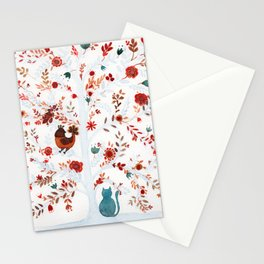 Nina the cat and the chicken Stationery Cards