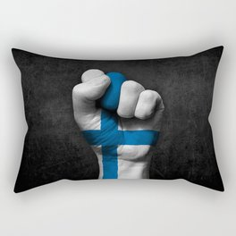 Finnish Flag on a Raised Clenched Fist Rectangular Pillow