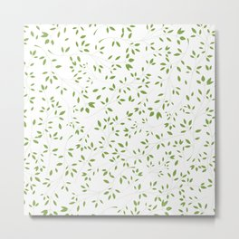 Leaves Pattern in Green & White Metal Print