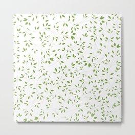Leaves Pattern in Green & White Metal Print