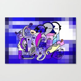 Blue White Commotion Canvas Print