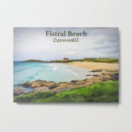 Fistral Beach Travel Poste Metal Print