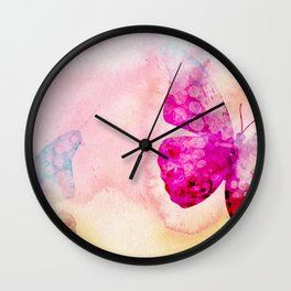 Pink Watercolor Butterfly Wall Clock