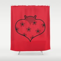 bug Shower Curtains featuring Love Bug by Neeti