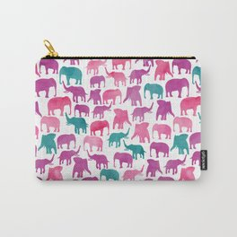 Watercolor Elephant Stampede Pretty Pattern Carry-All Pouch