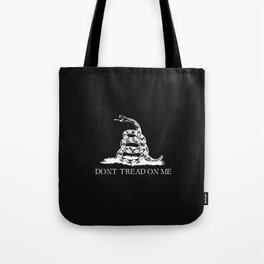 Gadsden flag Don't tread on me black and white Tote Bag