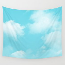 Aqua Blue Clouds Wall Tapestry