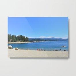 South California blue lake under blue sky, sandy beach.  Metal Print