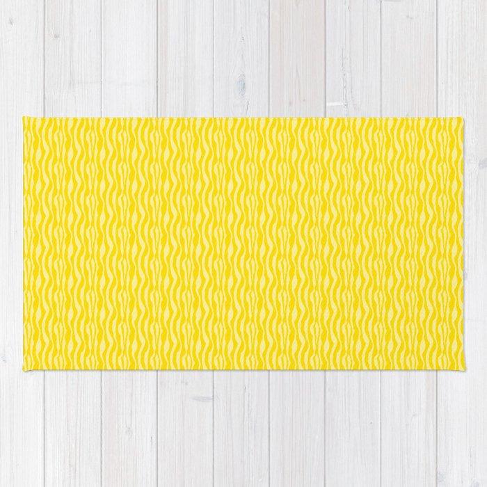 Yellow Zebra Print Pattern Rug
