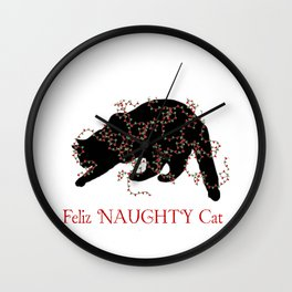 Feliz NAUGHTY Cat Wall Clock