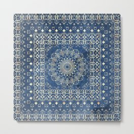 Old Bookshop Magic Mandala in Blue Metal Print