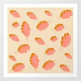 Fall pattern pink mustard oak leaves Art Print