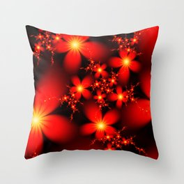 Rich Red Flowers Throw Pillow