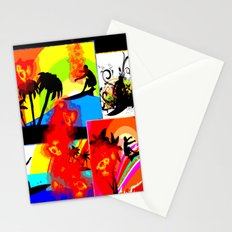 Posterized Surfing Collage Stationery Cards