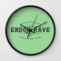 rave Wall Clocks featuring Endor Rave by Messypandas